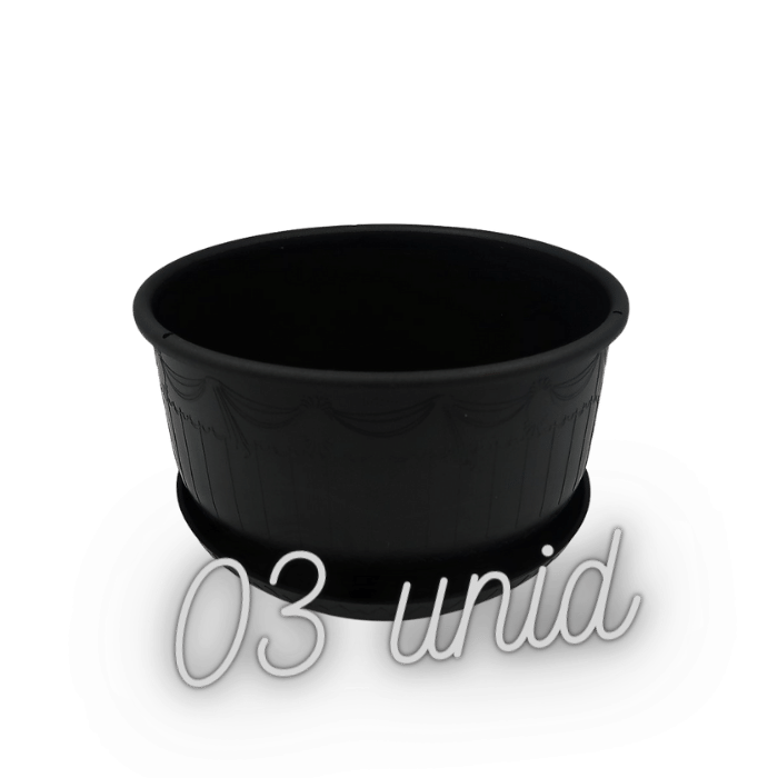 Cuia com prato - preto - 09 x 15 cm kit 3 unid