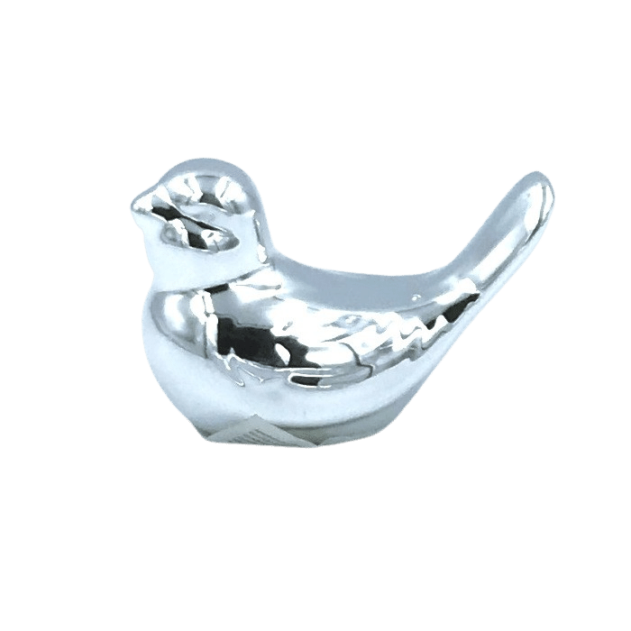 Enfeite decorativo de porcelana - passarinho prateado