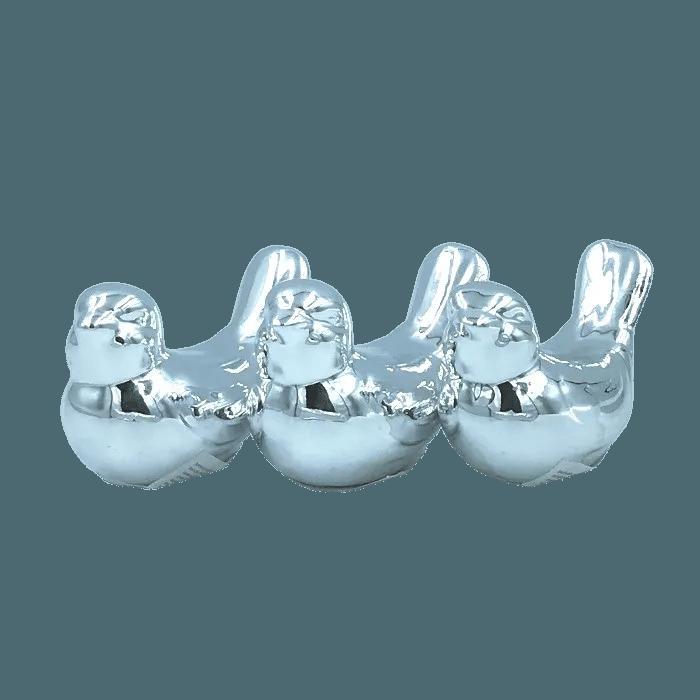 Enfeite decorativo de porcelana - passarinho prateado - kit 03 un