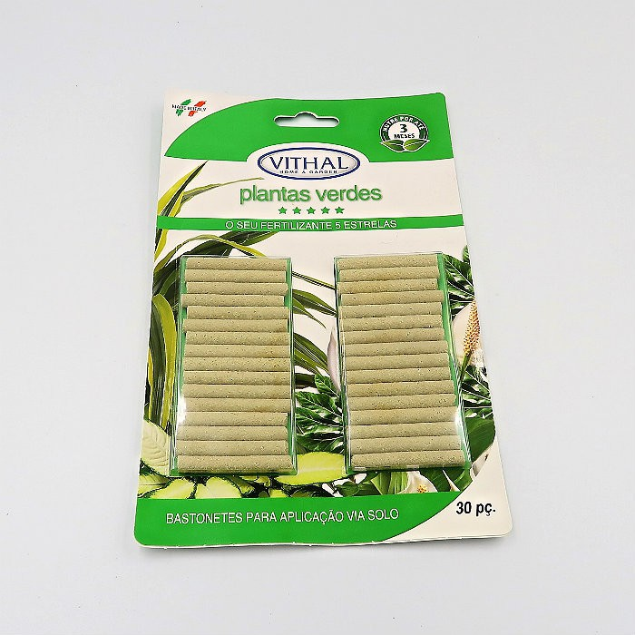 Fertilizante em Bastonetes Plantas Verdes Vithal 120 Unidades