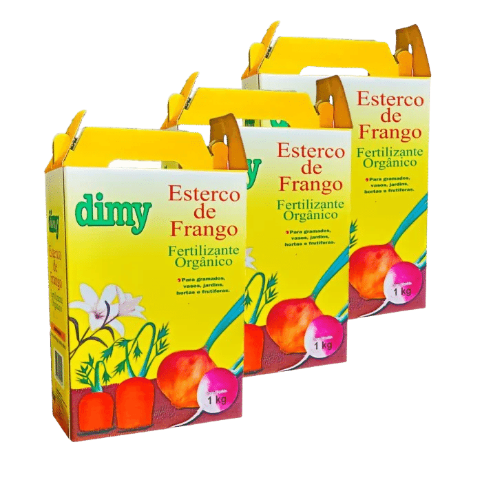 Fertilizante esterco de frango - dimy - kit 3 x 1 kg