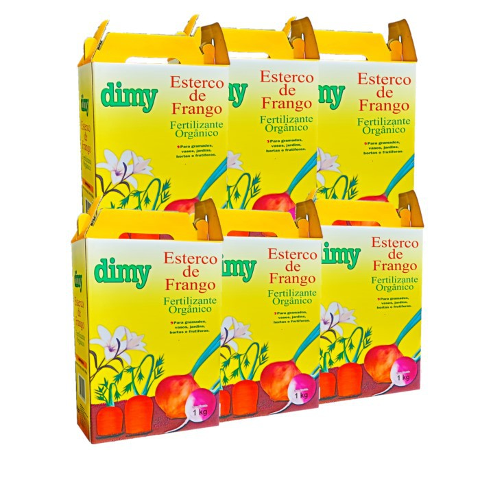 Fertilizante esterco de frango - dimy - kit 6 x 1 kg