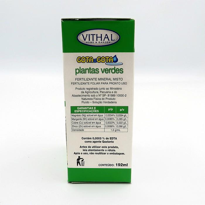 Fertilizante Gota a Gota - Plantas Verdes - Vithal - 12 ampolas
