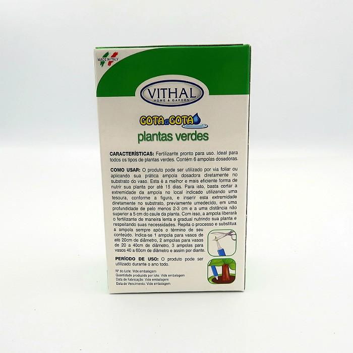 Fertilizante Gota a Gota - Plantas Verdes - Vithal - 6 ampolas