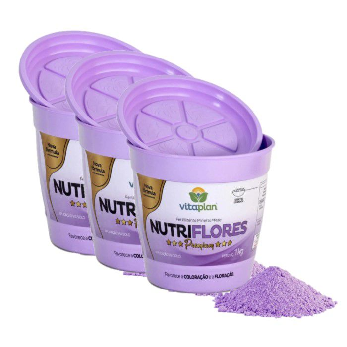 Fertilizante Nutriflores Premium Kit 3 x 1 Kg + brinde - NPK 06-12-06