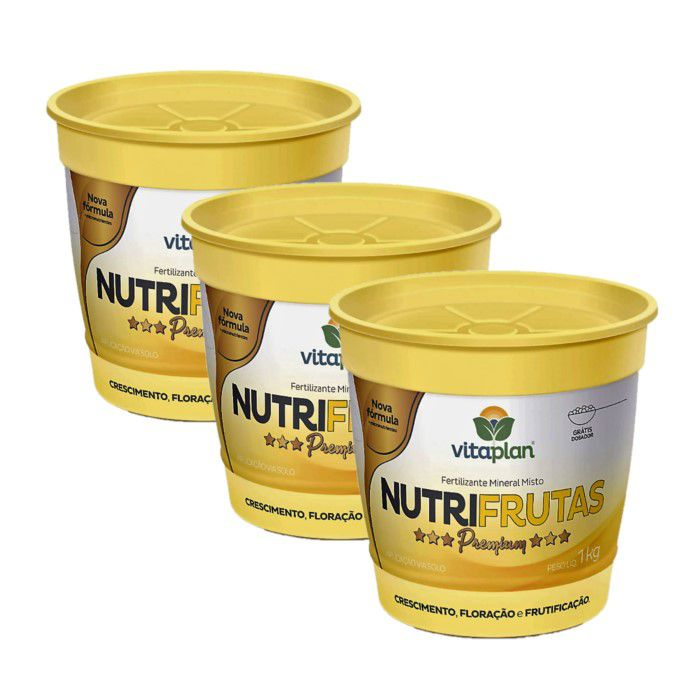 Fertilizante Nutrifrutas Premium - kit 3 x 1 kg + brinde - NPK 11-06-24