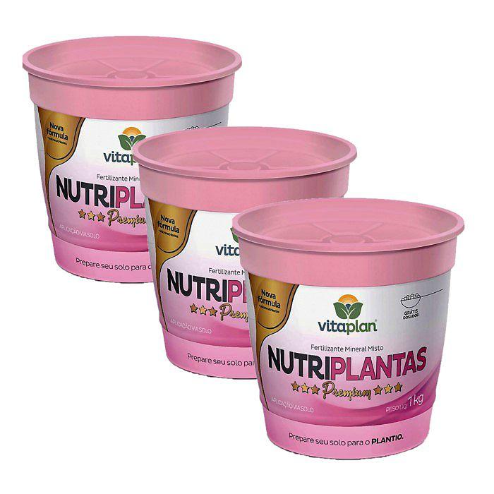 Fertilizante Nutriplantas Premium - kit 3 x 1 kg + brinde - NPK 02-15-10