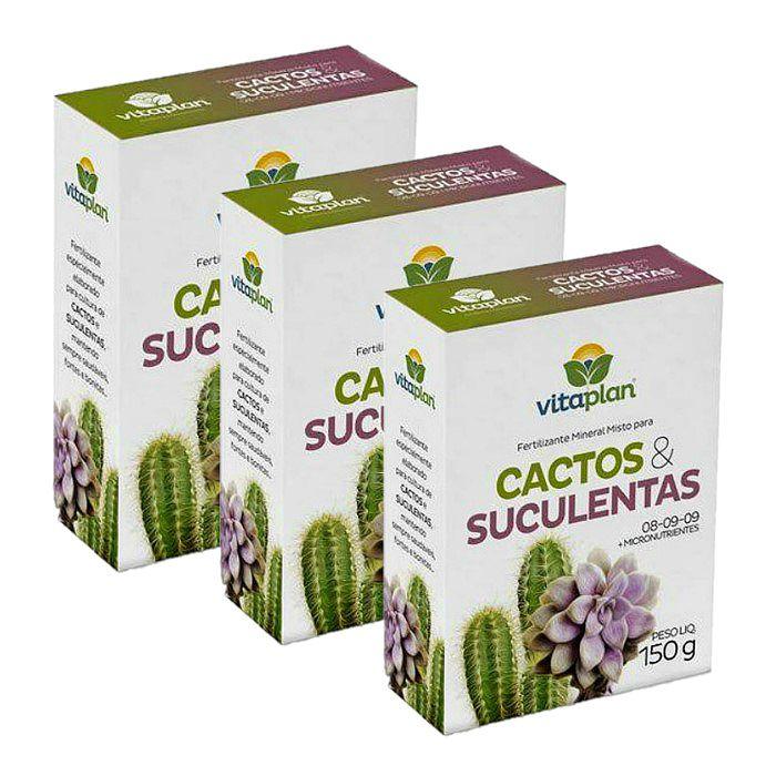Fertilizante para Cactos e Suculentas Vitaplan - kit 3 caixas 150 gr