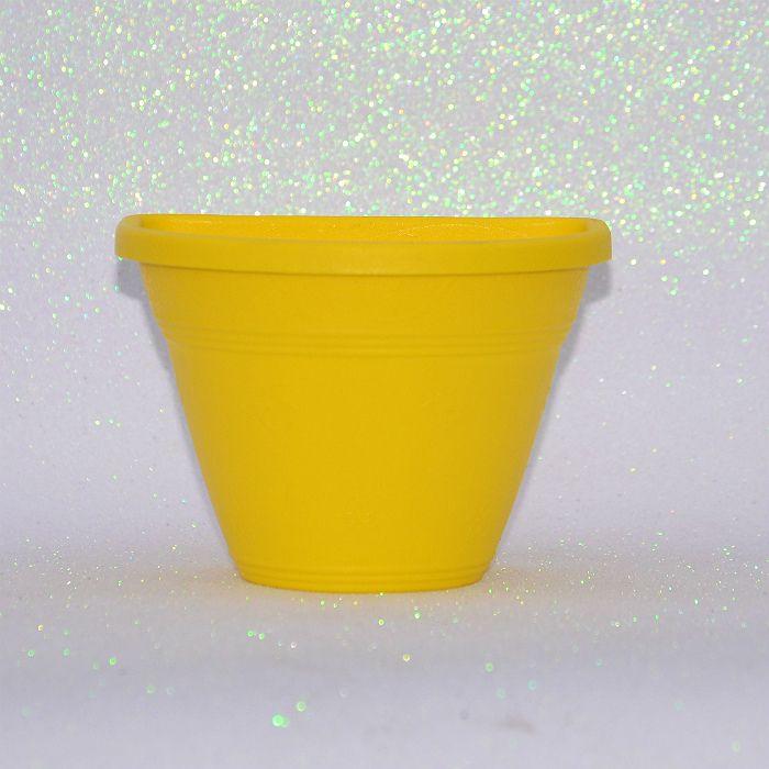 Vaso de parede - amarelo - 15 cm - Kit 05 un + brinde