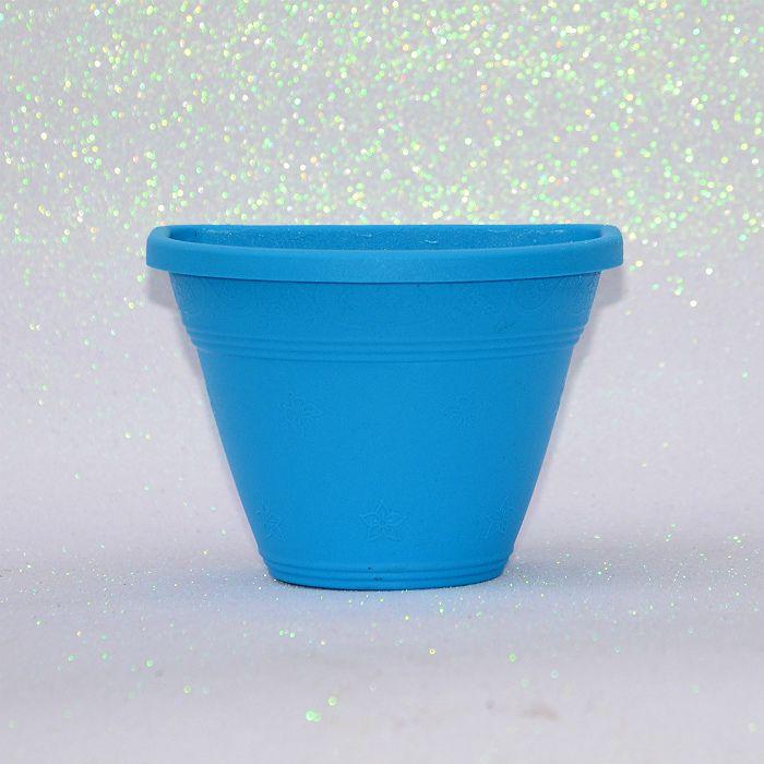 Vaso plástico de parede - vicenza - azul - 15 cm  - kit 10 un