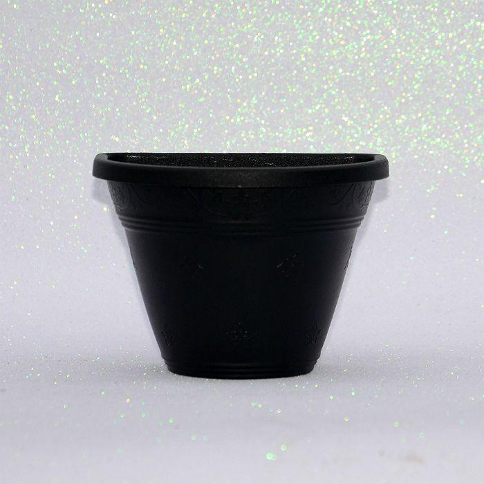 Vaso plástico de parede - vicenza - preto - 15 cm - kit 10 un
