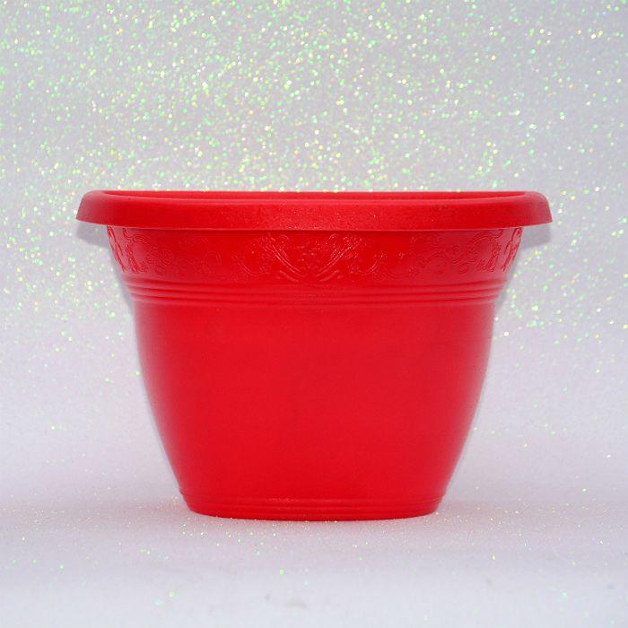 Vaso plástico de parede - vicenza - vermelho - 15 cm - kit 10 un