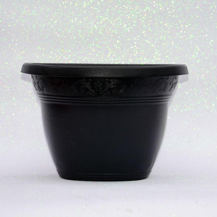 kit 30 - Vaso plástico de parede - vicenza - preto - 23 cm