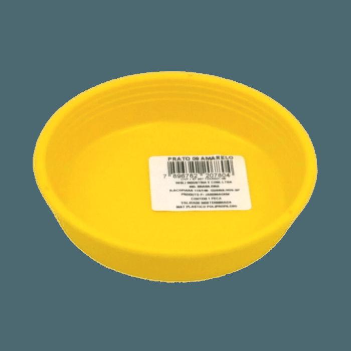 Prato plástico para vaso - amarelo - 09  cm