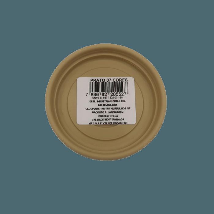 Prato plástico para vaso - areia - 07 cm