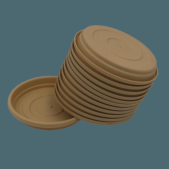 Prato plástico para vaso - areia - 13 cm - kit 12 unid