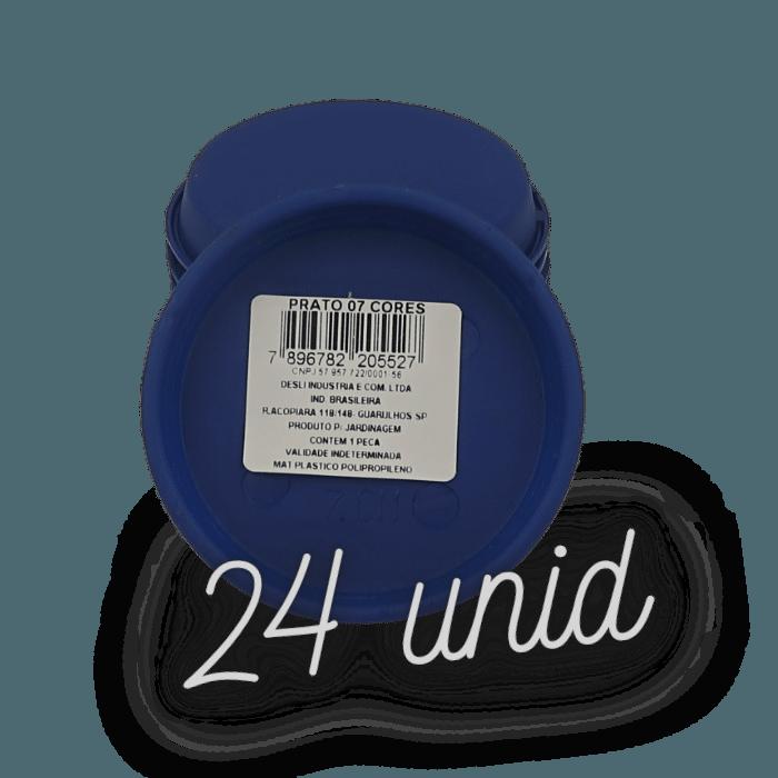 Prato plástico para vaso - azul marinho - 07 cm - kit 24 unid