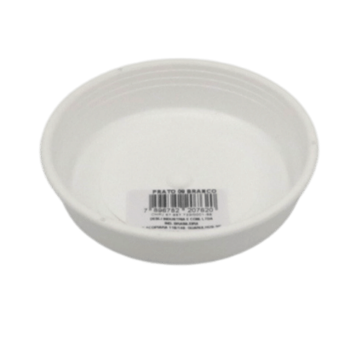 Prato plástico para vaso - branco - 13 cm