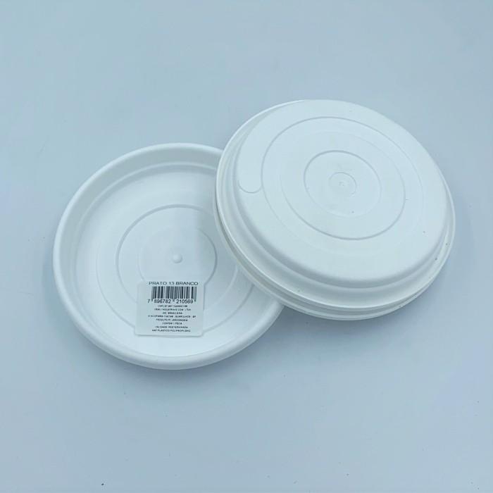 Prato plástico para vaso - branco - 13 cm - kit 03 unid
