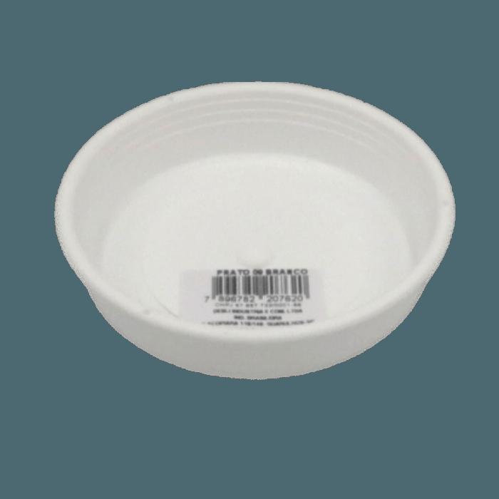 Prato plástico para vaso - branco - 13 cm - kit 06 unid