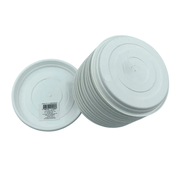 Prato plástico para vaso - branco - 13 cm - kit 12 unid