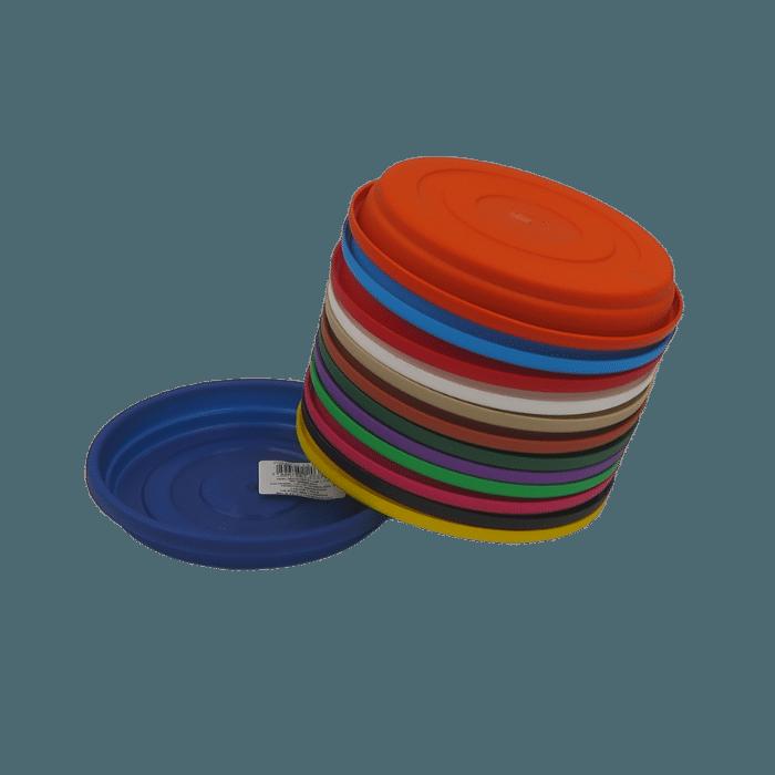 Prato plástico para vaso - colorido - 07 cm - kit 12 unid