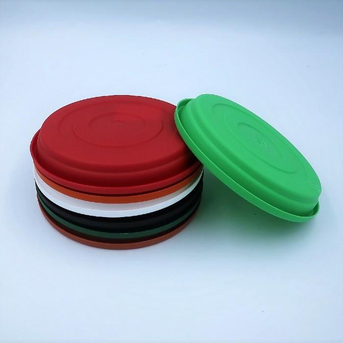 Prato plástico para vaso - colorido - 13 cm - kit 06 unid