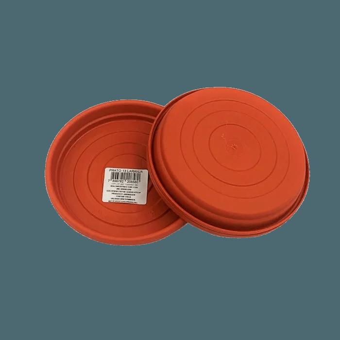 Prato plástico para vaso - laranja - 13 cm - kit 03 unid