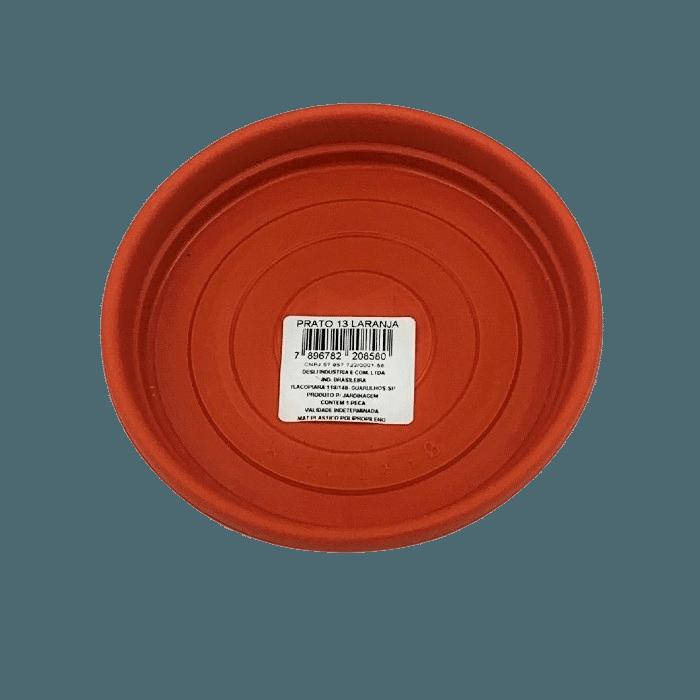 Prato plástico para vaso - laranja - 13 cm - kit 12 unid