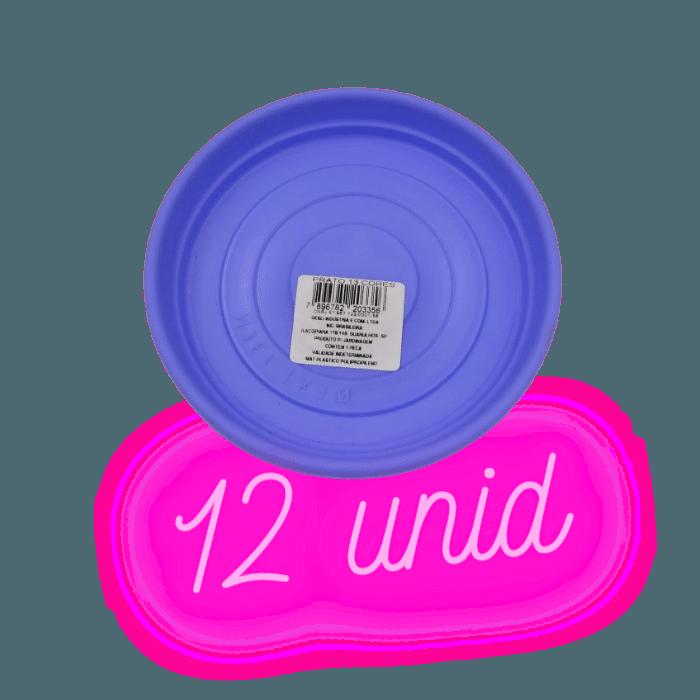 Prato plástico para vaso - lilás - 13 cm - kit 12 unid