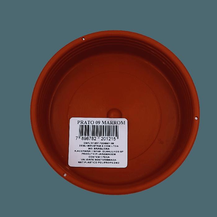 Prato plástico para vaso - marrom - 09  cm