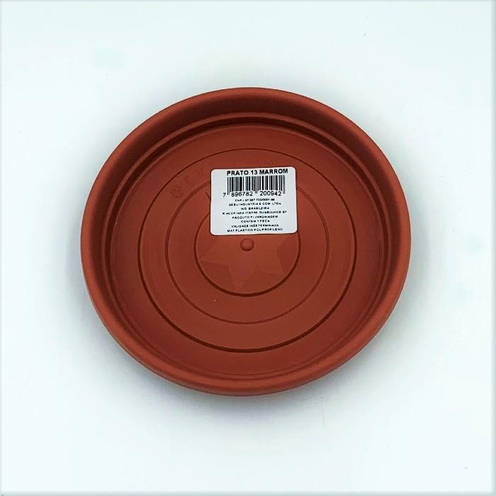 Prato plástico para vaso - marrom - 13 cm