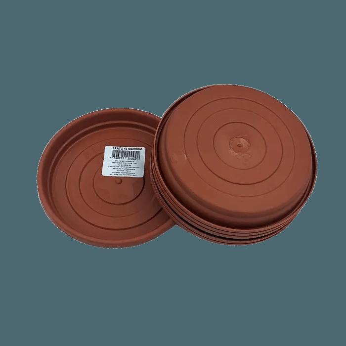 Prato plástico para vaso - marrom - 13 cm - kit 06 unid