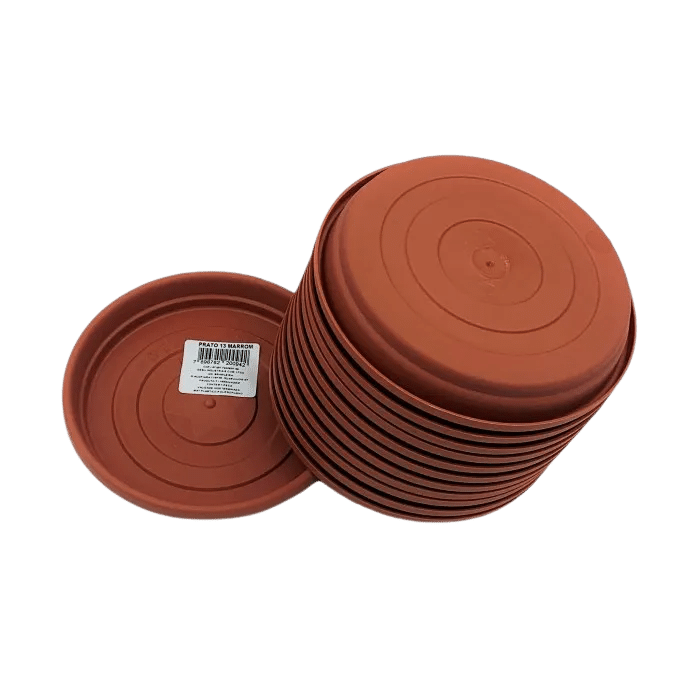 Prato plástico para vaso - marrom - 13 cm - kit 12 unid