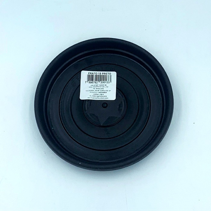Prato plástico para vaso - preto - 13 cm