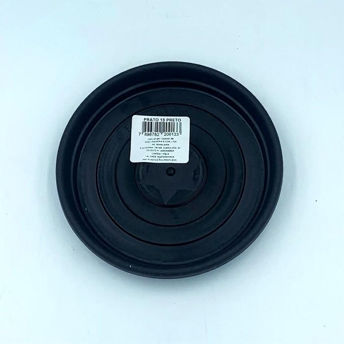 Prato plástico para vaso - preto - 13 cm - kit 03 unid
