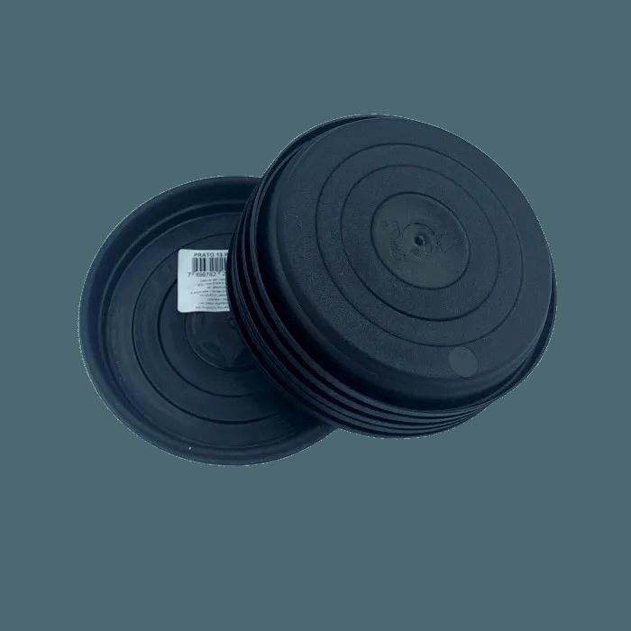 Prato plástico para vaso - preto - 13 cm - kit 06 unid