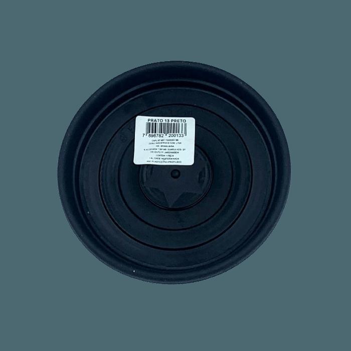 Prato plástico para vaso - preto - 13 cm - kit 12 unid