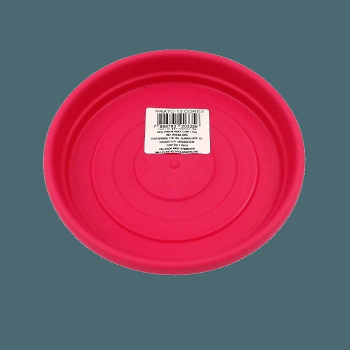 Prato plástico para vaso - rosa - 13 cm