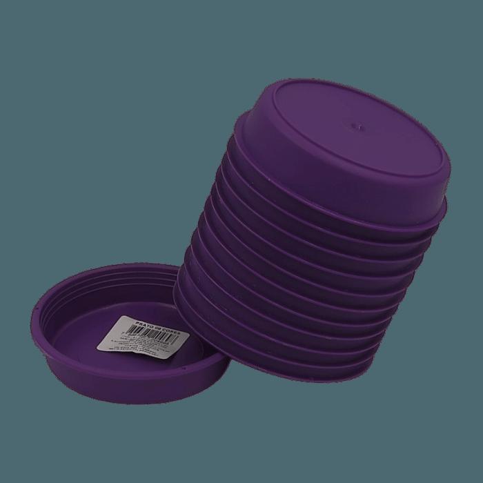 Prato plástico para vaso - roxo - 09 cm - kit 12 unid