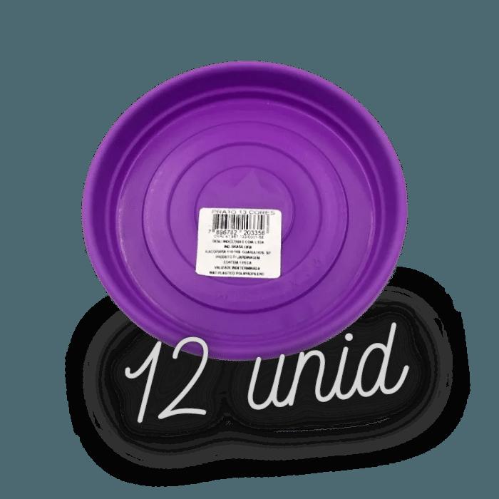 Prato plástico para vaso - roxo - 13 cm - kit 12 unid