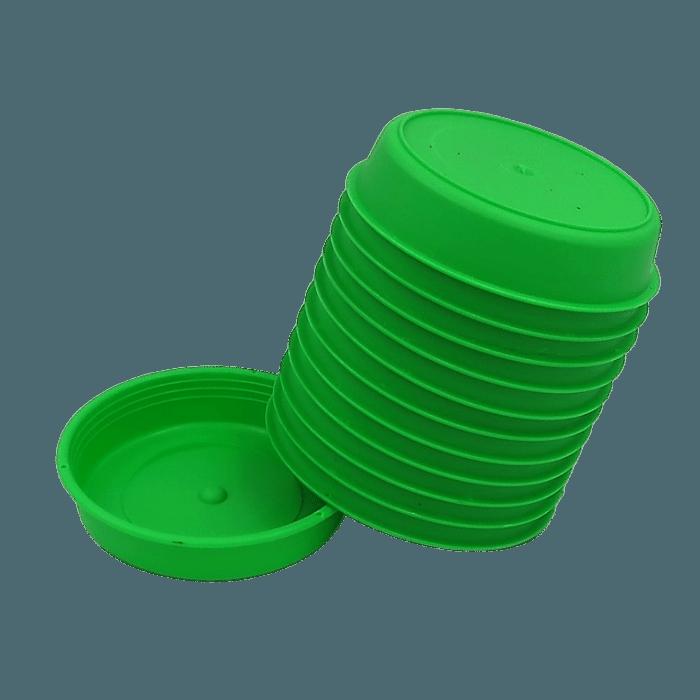 Prato plástico para vaso - verde - 09 cm - kit 12 unid