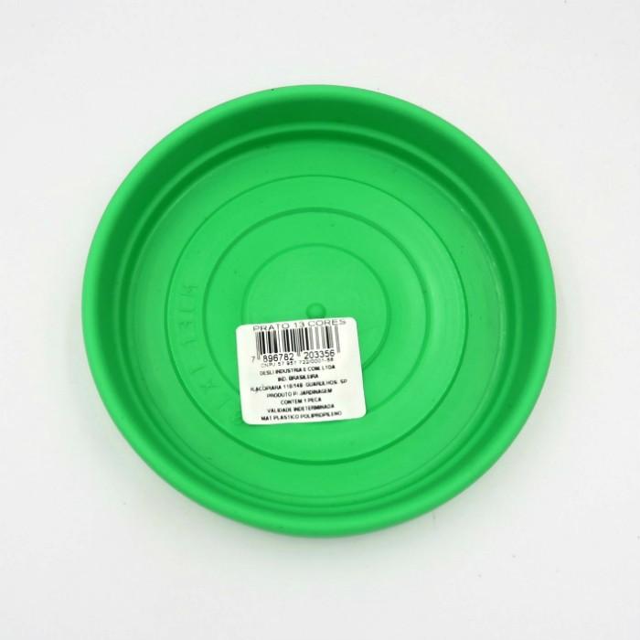 Prato plástico para vaso - verde - 13 cm