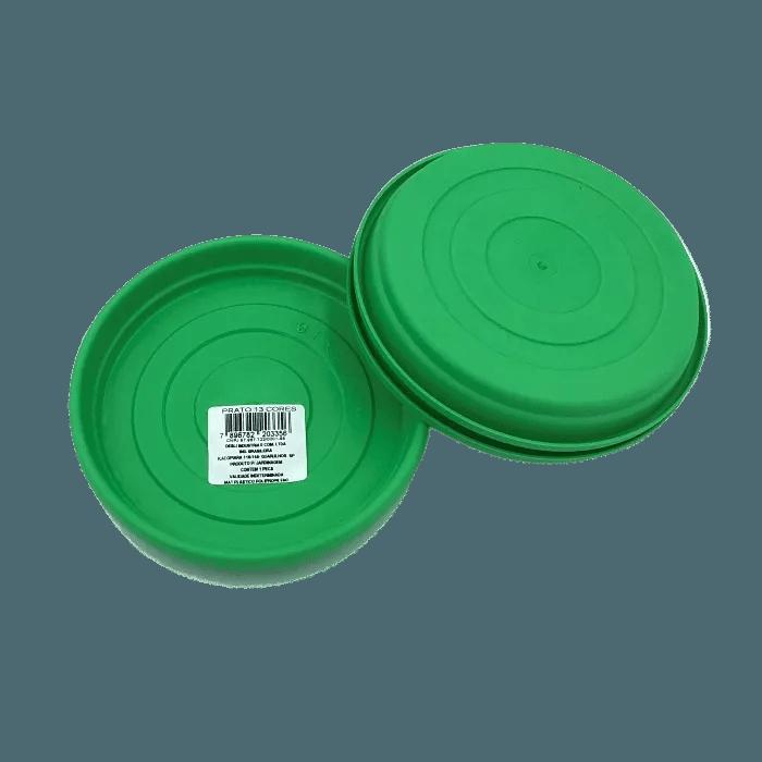 Prato plástico para vaso - verde - 13 cm - kit 03 unid
