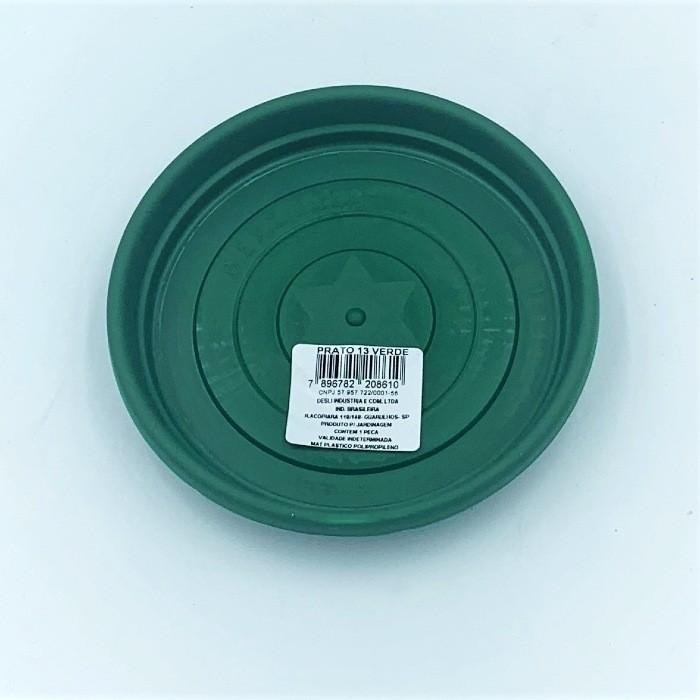 Prato plástico para vaso - verde escuro - 13 cm