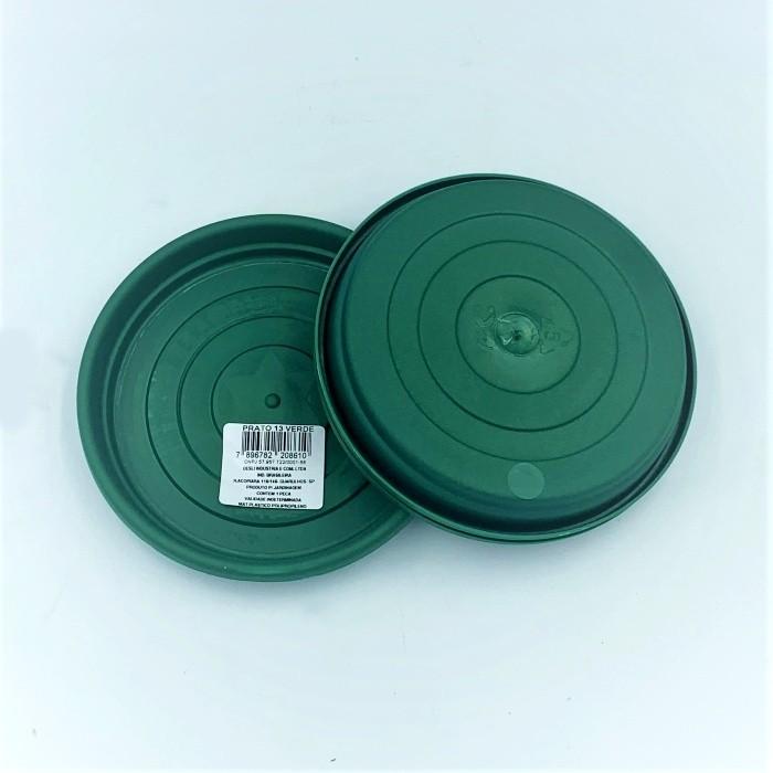 Prato plástico para vaso - verde escuro - 13 cm - kit 03 unid