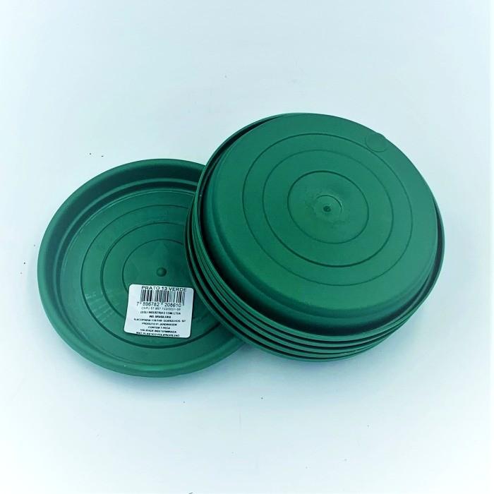 Prato plástico para vaso - verde escuro - 13 cm - kit 06 unid