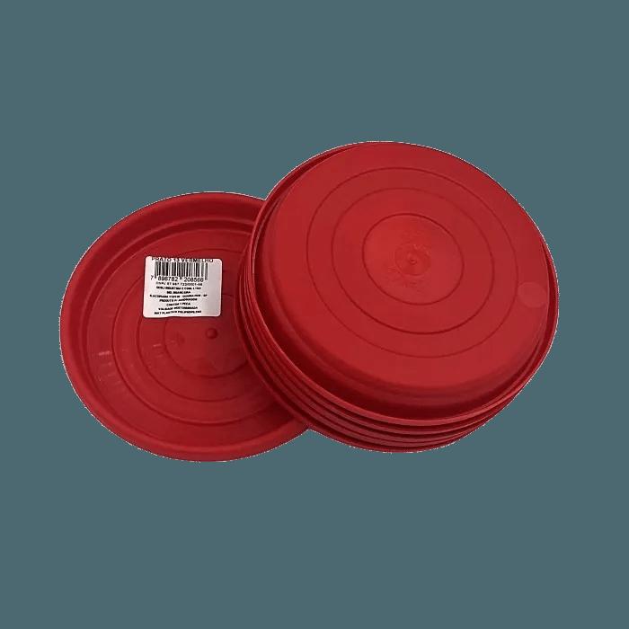 Prato plástico para vaso - vermelho - 13 cm - kit 06 unid