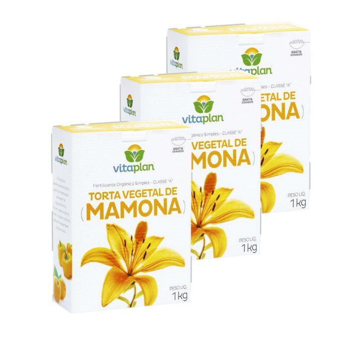 Torta mamona - Vitaplan - kit 3 caixas 1 kg + brinde