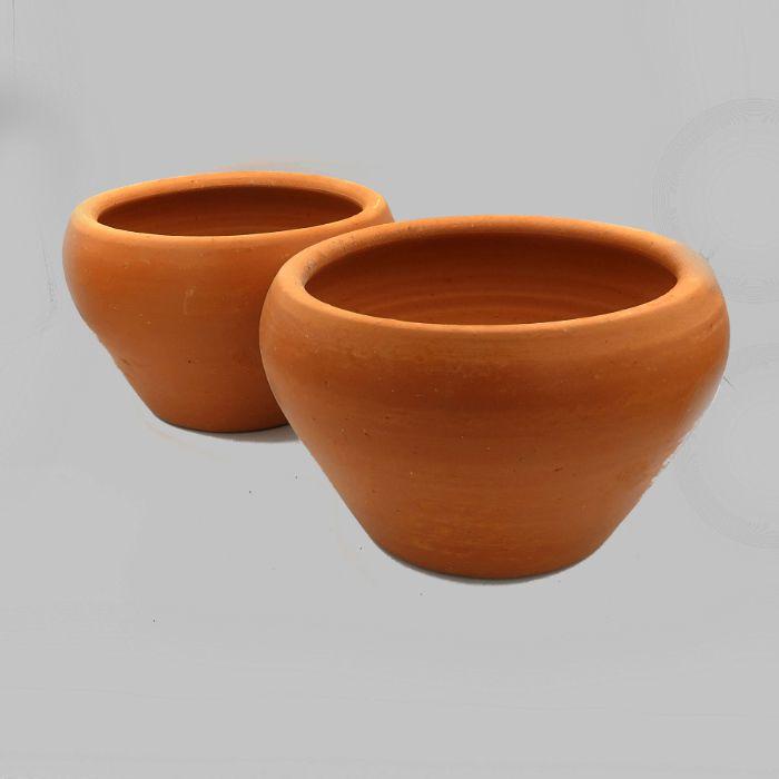 Vaso de barro - aquario - 20 x 13 cm - kit 02 unid